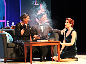 """Mindy Cohn, Billy Marshall Jr., and Amy Halldin in Judson Theatre Company's production of """"Bell, Book and Candle"""" by John Van Druten"""